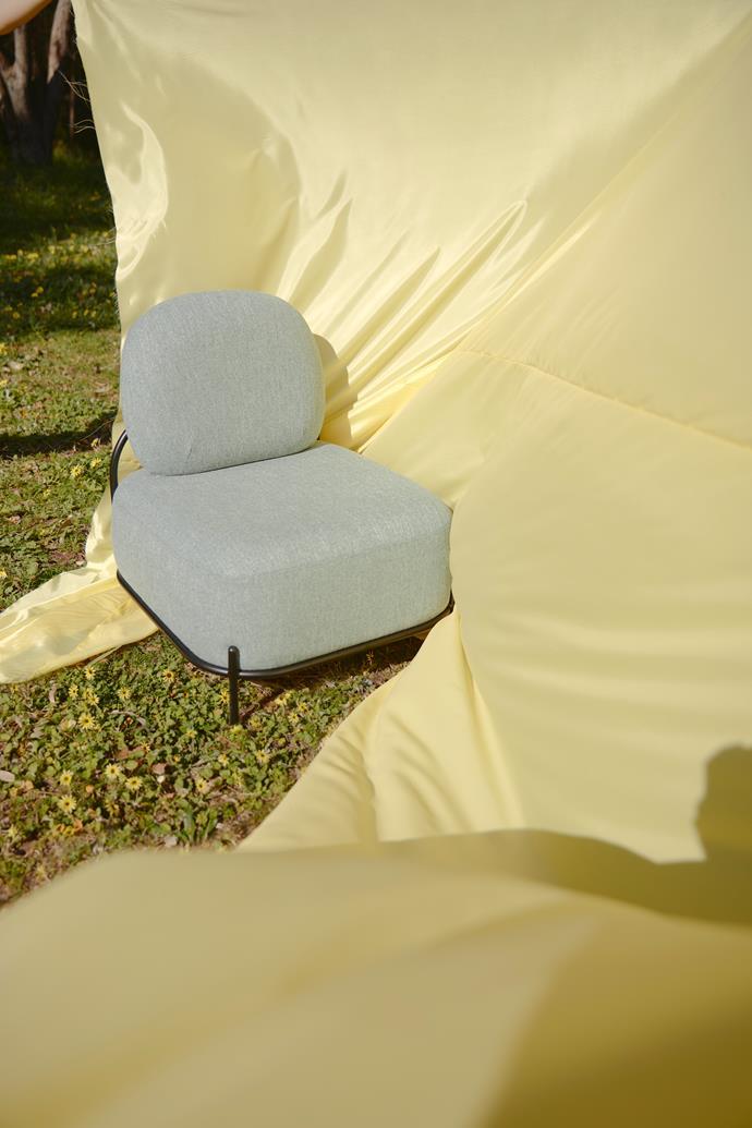 Mellow armchair in Light Grey, $439, Vorsen. Bemsilk lining fabric in Lemon, $9 per m, Spotlight.