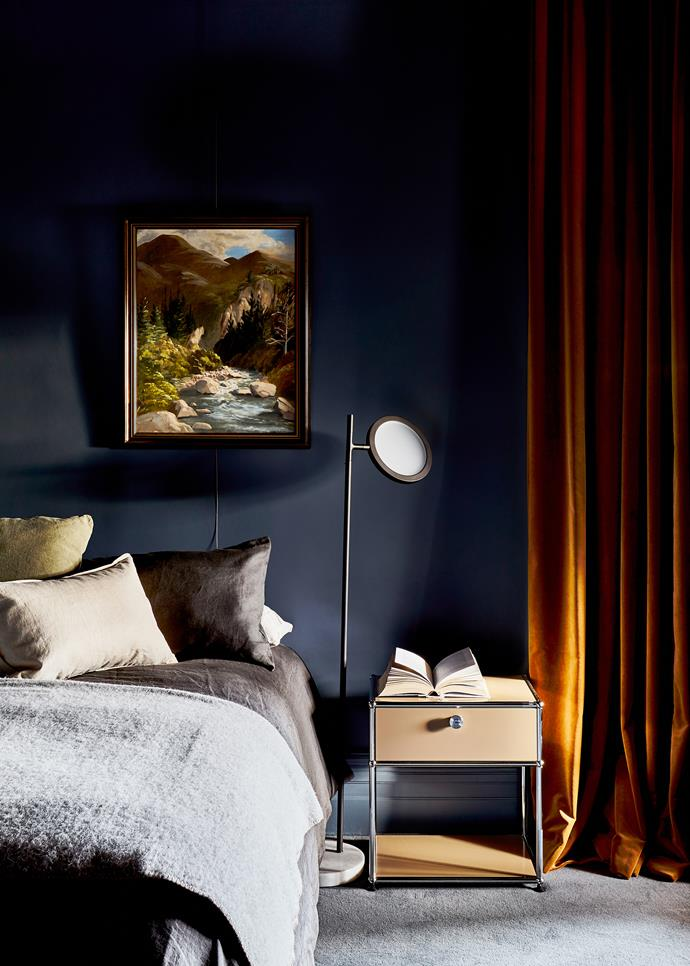 In the guest bedroom is an artwork by Isabella O'Callaghan. Matter Made 'Discus' floor lamp by Jamie Gray from Criteria. USM side table from Anibou.