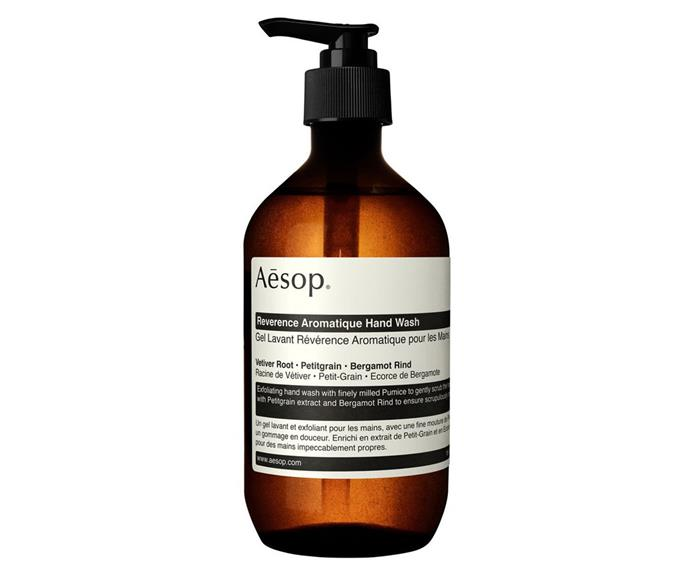 "Reverence Aromatique Hand Wash, $40, [Aesop](https://www.aesop.com/au/p/body-hand/hand-and-body-gifts/reverence-aromatique-hand-wash/|target=""_blank""