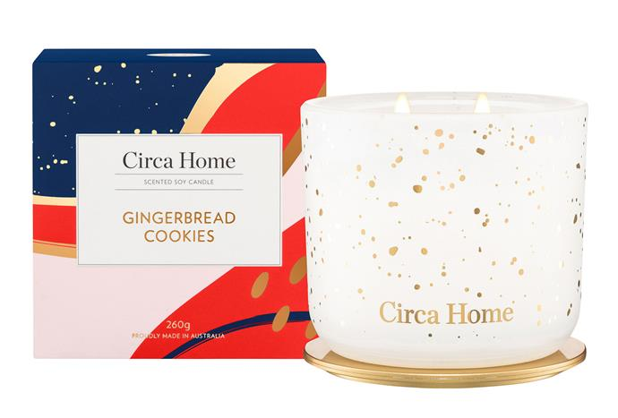 "Circa Home Gingerbread Cookies Candle, $39.95, [Adore Beauty](https://www.adorebeauty.com.au/circa-home/circa-home-classic-candle-gingerbread-cookies-260g.html|target=""_blank""