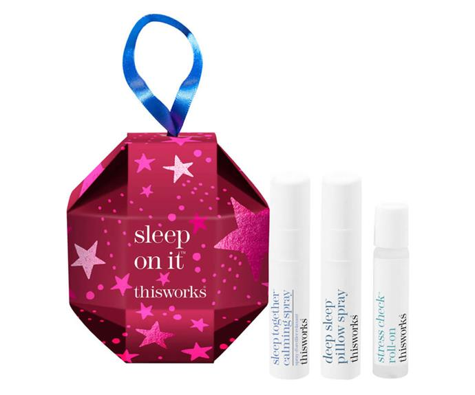 "This Works Sleep On It Bauble, $27, [Mecca](https://www.mecca.com.au/this-works/this-works-sleep-on-it/I-045557.html?cgpath=gifts-giftguide-shopbyprice-under50|target=""_blank""