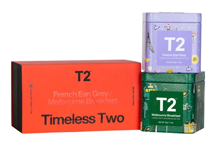 "Icon Duo Gift Pack - Timeless Two, $30, [T2 Australia](https://www.t2tea.com/en/au/gifts/tea-packs/icon-duo-gift-pack---timeless-two-T145AK581.html|target=""_blank""