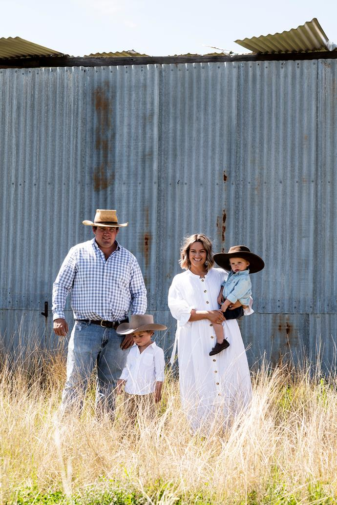 The Goodman family, Ben, Alfie, Holly and Huxley, live on a 279-hectare sheep and cattle property.