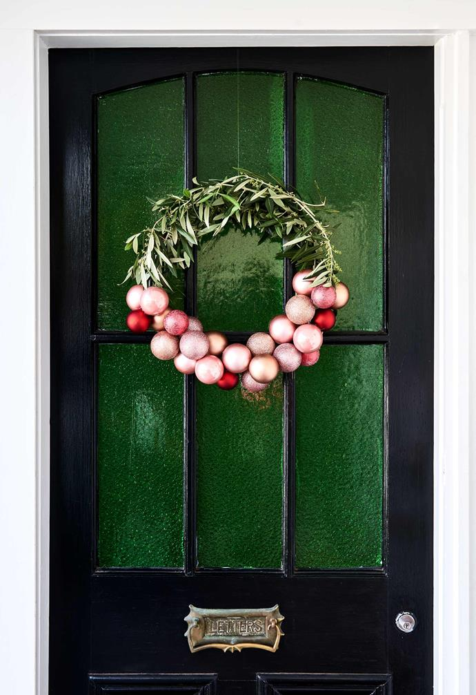 """A handmade wreath adds a warm and welcoming touch to the entryway of this [revamped Edwardian-style home in Geelong](https://www.homestolove.com.au/edwardian-style-house-geelong-21986