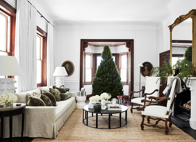 Huxley sofas, Coco Republic. Coffee table, MCM House. Vintage portraits, The Country Trader. Cushions, Orient House. Kelly Wearstler lamps, Becker Minty. When it comes to the Christmas tree, Steve prefers a subtle look, with just strings of fairy lights serving as decorations.