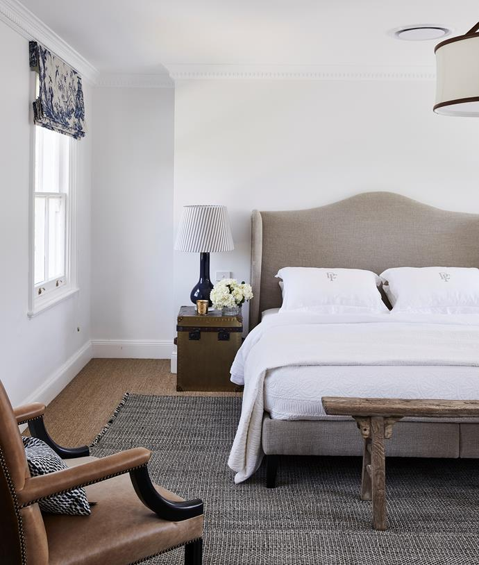 Custom bed by H&J Furniture in Antoine D'Albiousse fabric from Boyac.