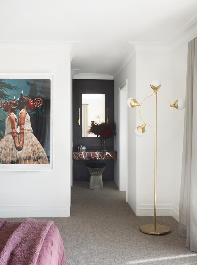 Rama-Jaara, The Royal Shepherdess by Jacqui Stockdale from Olsen Gallery. Wool and yak hair carpet in Moon from Whitecliffe Imports. In the walk-in robe, custom dresser 