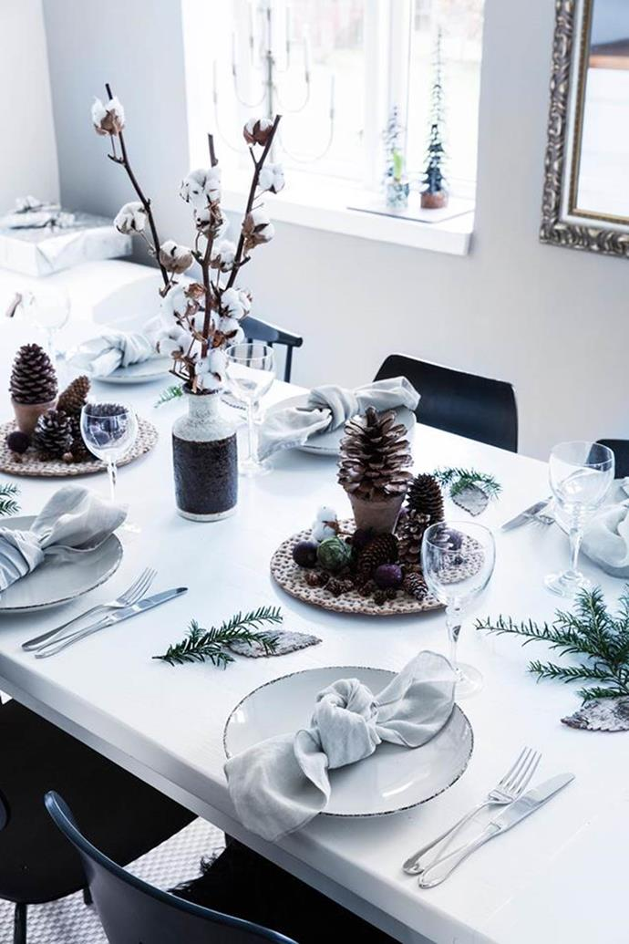 "For a nod to a [Northern Hemispherical white Christmas](https://www.homestolove.com.au/20-quick-and-easy-christmas-craft-ideas-try-6151|target=""_blank""), use sprigs of rosemary as napkin rings - simply tie together or use floral tape. Not only do they look like mini pine wreaths, your table will smell like heaven."