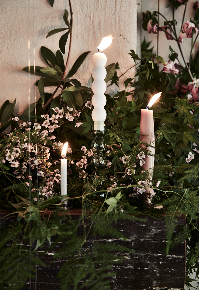 Tonly Assness taper candle, $60 for medium, House of Heras. Chandelle tapered candle in Sable, as before. Small white candle, for similar try Vinter 2020 candles, $5.99 for set of 8, Ikea.