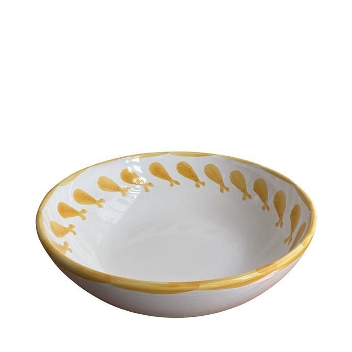 "Large ceramic serving bowl - yellow fish, Puglia, Italy, $189, [Alex & Trahanas](https://alexandtrahanas.com/collections/new-arrivals/products/large-ceramic-serving-bowl-yellow-fish-puglia-italy|target=""_blank""