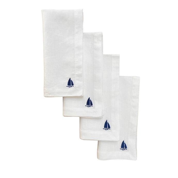 "Vela (sailing boat) linen napkins, set of 4, white, $85, [Alex & Trahanas](https://alexandtrahanas.com/collections/table-linen/products/vela-sailing-boat-linen-napkins-set-of-4-white|target=""_blank""