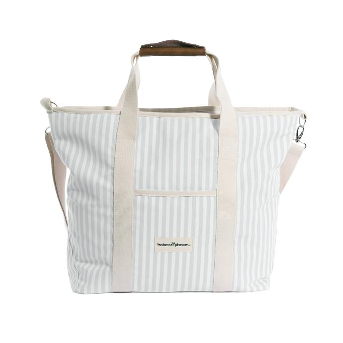 "The Cooler Tote Bay - Lauren's Sage Stripe, $99, [Business & Pleasure](https://businessandpleasureco.com.au/collections/bags-coolers/products/the-cooler-tote-bag-laurens-sage-stripe|target=""_blank""