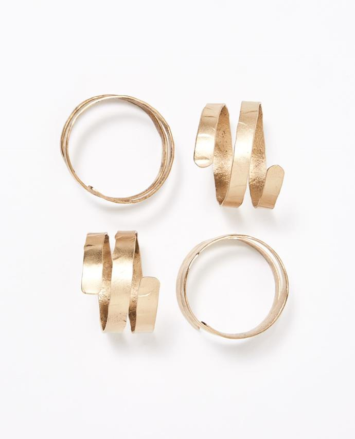 "Dante Napkin Ring, Brass set of 4, $39.95, [Papaya](https://www.papaya.com.au/dante-napkin-ring-brass-set-of-4|target=""_blank""