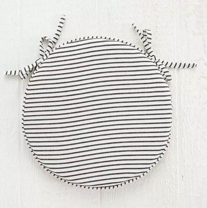 "Stripe Chair Pad, $24.95, [Provincial Home Living](https://www.provincialhomeliving.com.au/stripe-chair-pad-1117257771|target=""_blank""