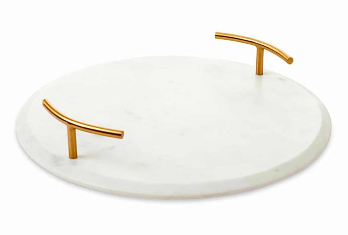 Salerno Marble White & Gold Tray, $59.99, [Adairs](https://www.adairs.com.au/homewares/tableware/home-republic/salerno-marble-white--gold-tray/).