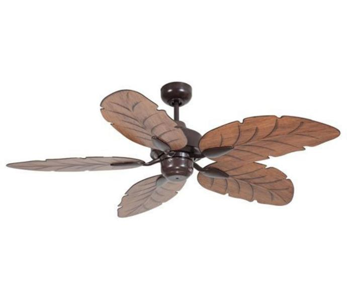 """**Mercator Cooya 52"""" Tahitian Outdoor Ceiling Fan, $349, [JD Lighting](https://www.jdlighting.com.au/mercator-cooya-52-moulded-abs-leaf-blade-outdoor-ceiling-fan.html
