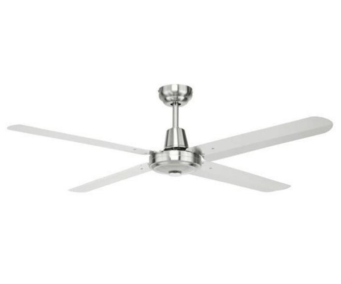 """**Brilliant Atrium 56"""" 316 Marine Grade Stainless Steel Ceiling Fan, $339, [JD Lighting](https://www.jdlighting.com.au/brilliant-lighting-atrium-4-blade-56-316-marine-grade-stainless-steel-ceiling-fan.html