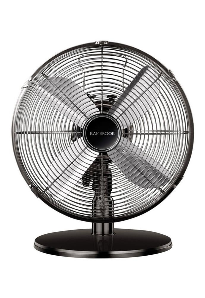 """**[Kambrook arctic antique metal desk fan, $69.95, The Good Guys](https://www.thegoodguys.com.au/kambrook-arctic-antique-metal-desk-fan-kfa241
