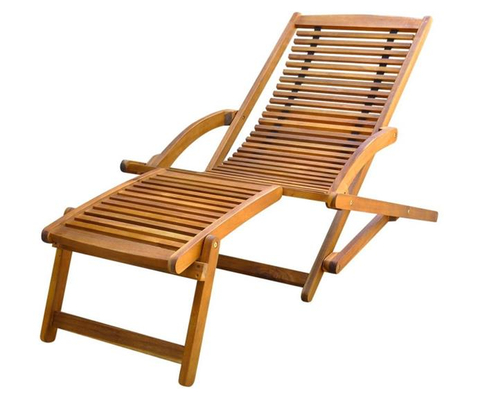 "Foldable Acacia Wood Sun Lounger Garden Recliner Chair with footrest, $160.99, [catch.com.au](https://www.catch.com.au/product/foldable-acacia-wood-sun-lounger-garden-recliner-chair-w-footrest-outdoor-patio-441908/|target=""_blank""