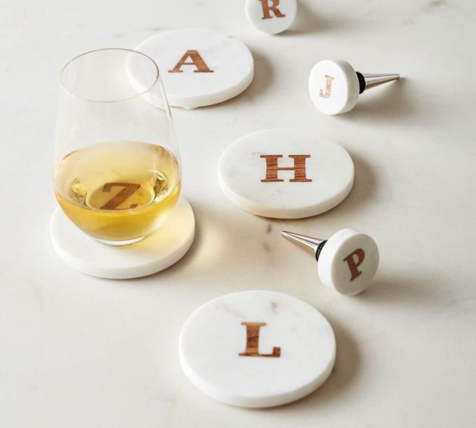 "Alphabet Marble Wine Stopper, $19, [Pottery Barn](https://www.potterybarn.com.au/alphabet-marble-wine-stopper|target=""_blank""|rel=""nofollow"")"