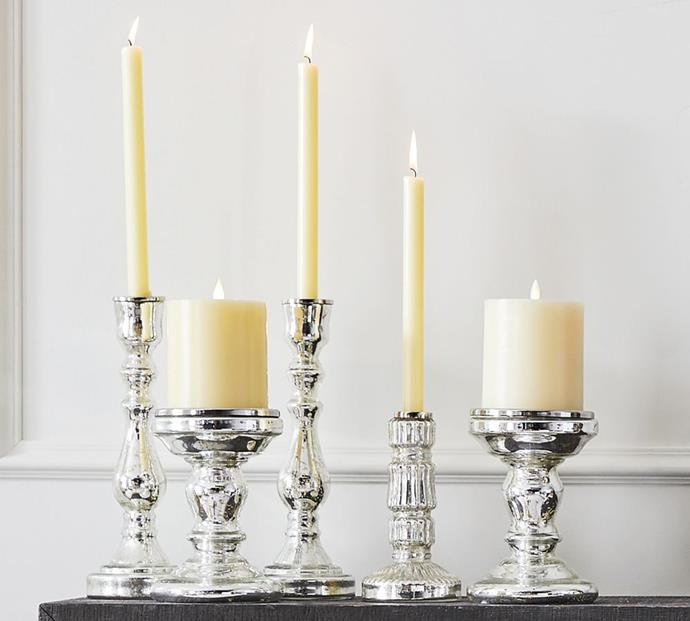 """Antique Mercury Glass Candle Holders, from $29, [Pottery Barn](https://www.potterybarn.com.au/antique-mercury-glass-candle-holder