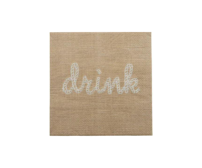 """Drink Taupe Coaster 20pk, $4.95, [Hamptons Style](https://hamptonsstyle.com.au/collections/hamptons-style-christmas-2020/products/drinktaupenapkin20pk