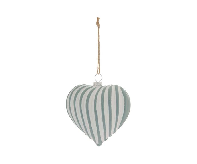 "Australian House & Garden, Eucalyptus Two-Tone Ribbed Heart Hanging Ornament, $9.99, [Myer](https://www.myer.com.au/p/australian-house-garden-eucalyptus-two-tone-ribbed-heart-hanging-ornament|target=""_blank""|rel=""nofollow"")"