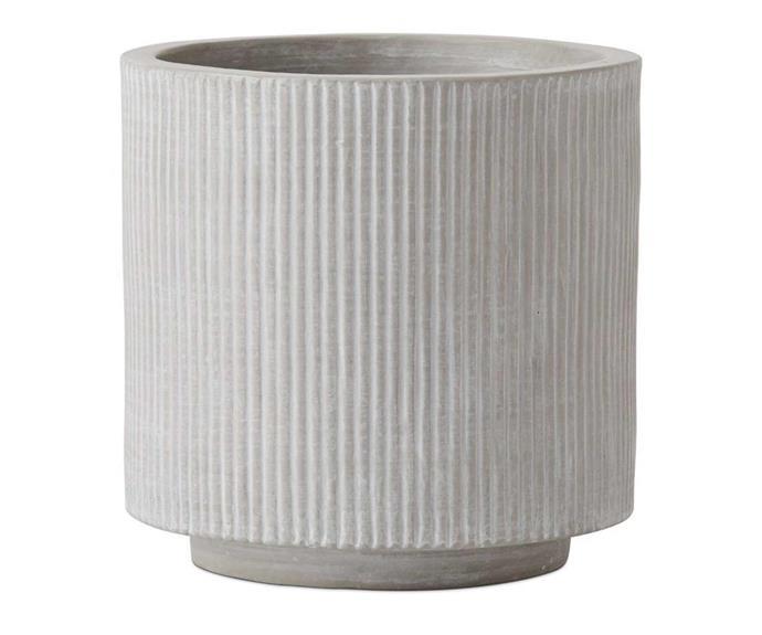 "Home Republic Pleat Grey Pot, $39.99, [Adairs](https://www.adairs.com.au/homewares/pots-plants/home-republic/pleat-grey-pot/|target=""_blank""|rel=""nofollow"")."