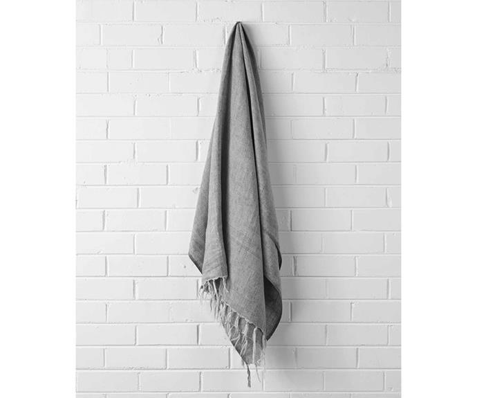 "Vintage Linen Throw in Smoke, $149, [Aura Home](https://www.aurahome.com.au/vintage-linen-fringe-throw-smoke|target=""_blank""|rel=""nofollow"")"