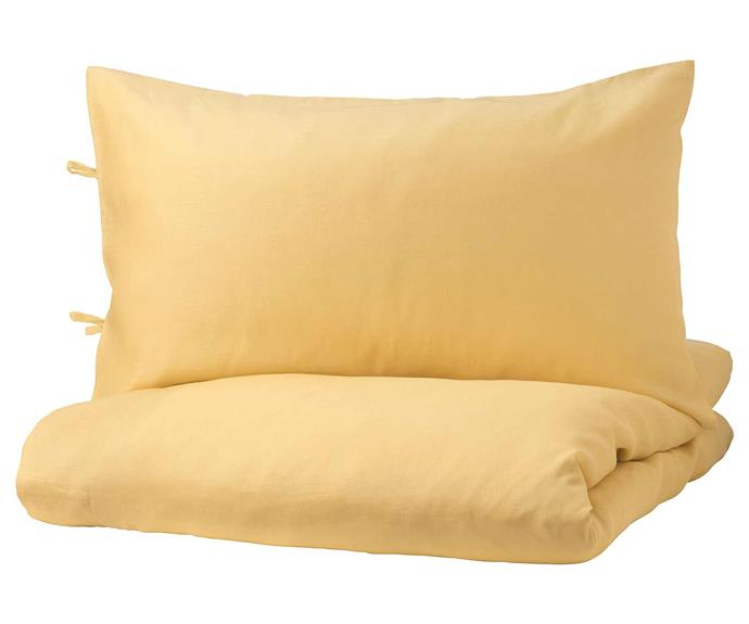 """PUDERVIVA Quilt Cover and Pillowcases, $99, [IKEA](https://www.ikea.com/au/en/p/puderviva-quilt-cover-and-2-pillowcases-light-yellow-60484518/