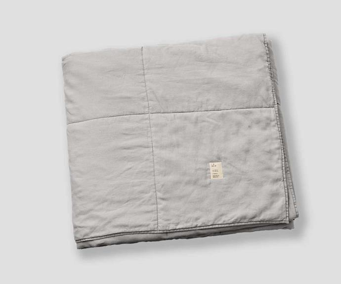 """100% Linen Quilted Bed Cover in Cool Grey, $490, [In Bed](https://inbedstore.com/collections/bedding/products/100-linen-quilted-bedcover-in-cool-grey