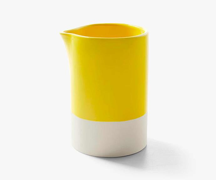 "Kali Medium Jug in Yellow, $39.95, [Aura home](https://www.aurahome.com.au/kali-medium-jug-yellow|target=""_blank""|rel=""nofollow"")."