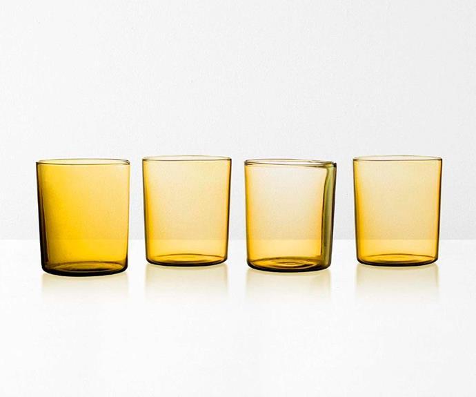 "Maison Balzac in Miel Glasses, $69/set of 4, [Aura Home](https://www.aurahome.com.au/glasses-set-maison-balzac-miel|target=""_blank""|rel=""nofollow"")."