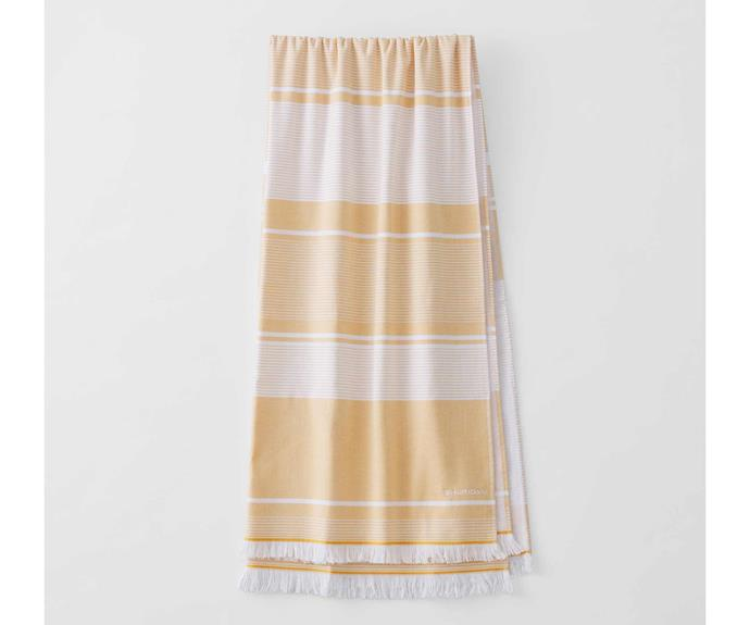 "Summerville Beach Towel, $69.99, [Sheridan](https://www.sheridan.com.au/summerville-beach-towel-s5nq-b114-c251-904-gold.html|target=""_blank""|rel=""nofollow"")."