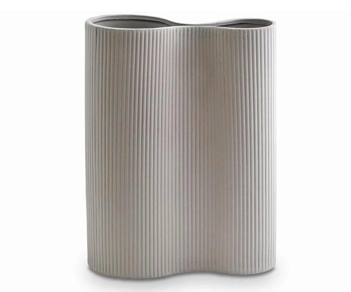 "Ribbed Infinity Vase in Light Grey - Medium, $79, [Marmoset Found](https://marmosetfound.com.au/collections/all/products/ribbed-infinity-vase-light-grey-m|target=""_blank""|rel=""nofollow"")."