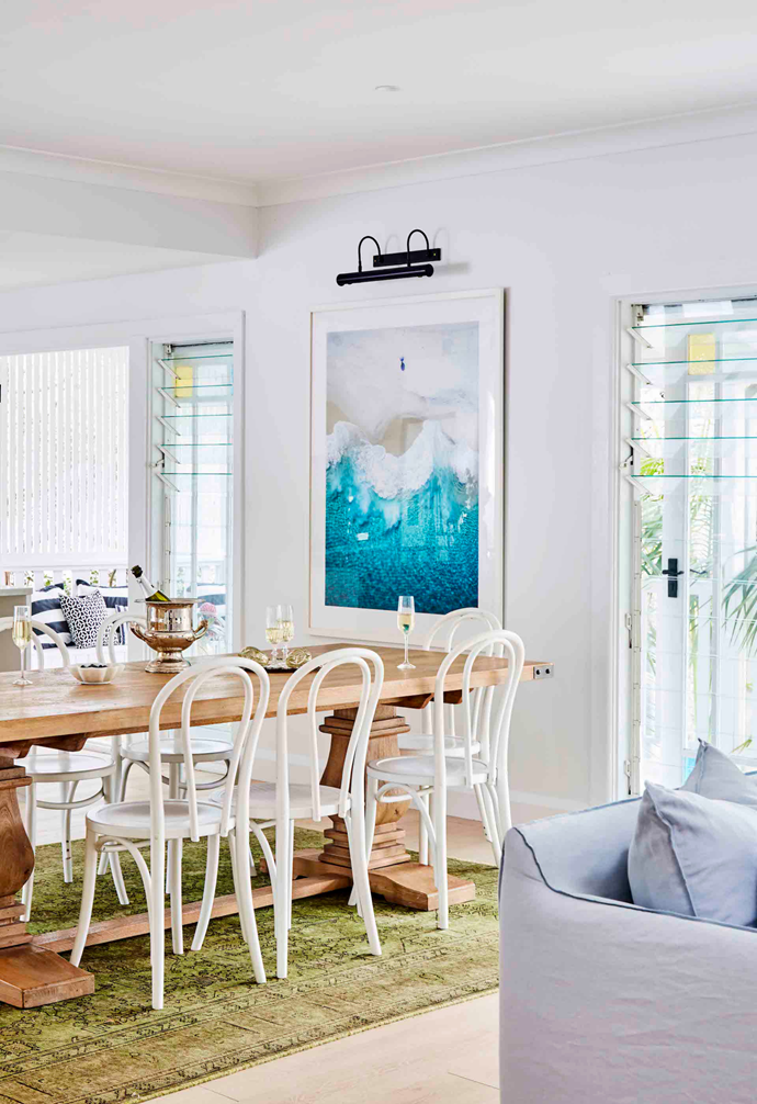 """When they're not dining outdoors, the eight-seater [dining table](https://www.homestolove.com.au/10-of-the-best-dining-tables-13249