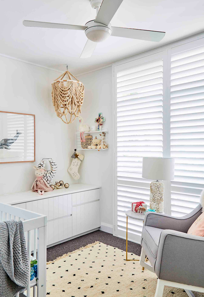 """I've never been into cliched blues or pinks for kids' rooms – I wanted it really neutral,"""" says Sally, who added just a few pink accessories to the nursery to please Ben, who was after a girly room for his baby daughter."""