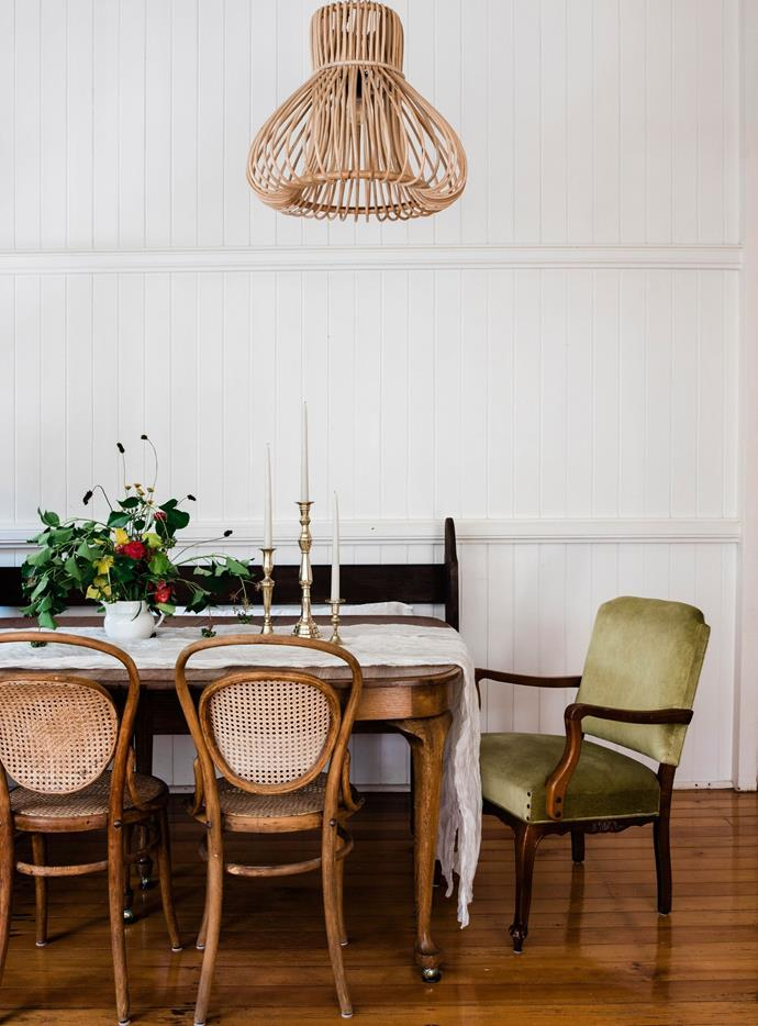 The early 1900s dining table was made in London, Ontario and the Mason's shipped it home to Australia when they returned from Canada. It is flanked by a variety of Bentwood chairs from Hayley's great-grandparents.