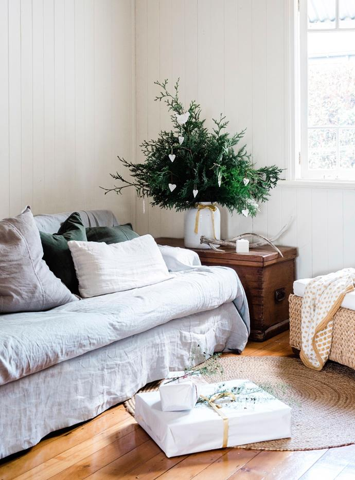 Hayley loves to bring greenery into the house in the lead-up to Christmas, and they play Christmas carols each day.
