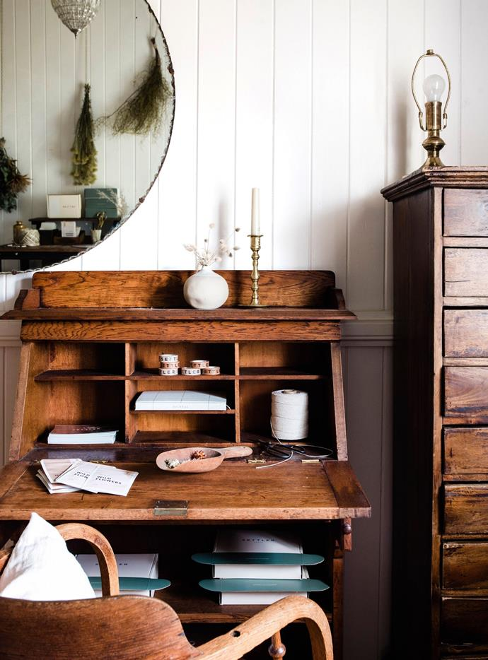 """The vintage desk and mirror came from Facebook Marketplace. """"I love reclaiming things,"""" Hayley says."""