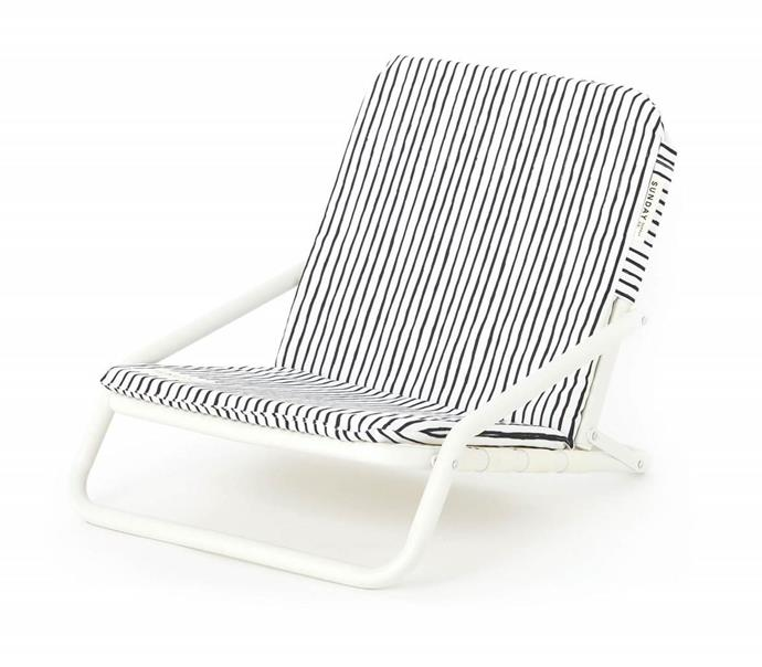 "Natural Instinct Beach Chair, $149, [Sunday Supply Co.](https://sundaysupply.co/collections/beach-chairs/products/natural-instinct-beach-chair|target=""_blank"")"