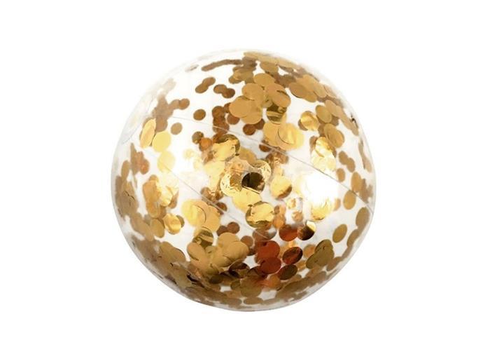 "Minnidip Confetti Beach Ball, 19.95, [Zanui](https://www.zanui.com.au/Minnidip-Confetti-Beach-Ball-186598.html|target=""_blank""|rel=""nofollow"")"