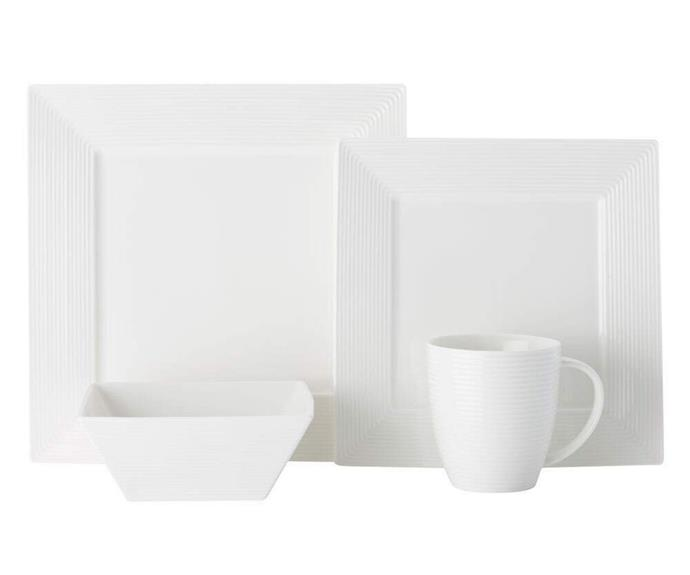 """**SQUARE**<p> <p>Square plates are a divisive choice, but do create a clean, symmetrical dinner setting if that's your thing. With slightly curved edges and a barely-there border, this 16-piece dinner set is a top choice.<p> <P>Casa Domani 16-Piece Casual White Evolve Square Dinner Set, $79.95, from [catch.com.au](https://www.catch.com.au/product/casa-domani-16-piece-casual-white-evolve-square-dinner-set-white-6512482/