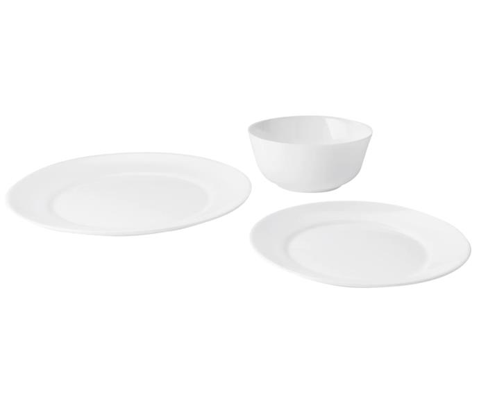 """**BUDGET**<p> <P>If you're living in a share house and tired of opening the cupboards to find you've run out of plates or bowls, you'll be glad to know you can get an all-new 12-piece dinner set for as little as $14.99 at Ikea. <P> <p>SAMTIDIG 12-piece set, $14.99, from [Ikea](https://www.ikea.com/au/en/p/samtidig-12-piece-service-white-10346157/