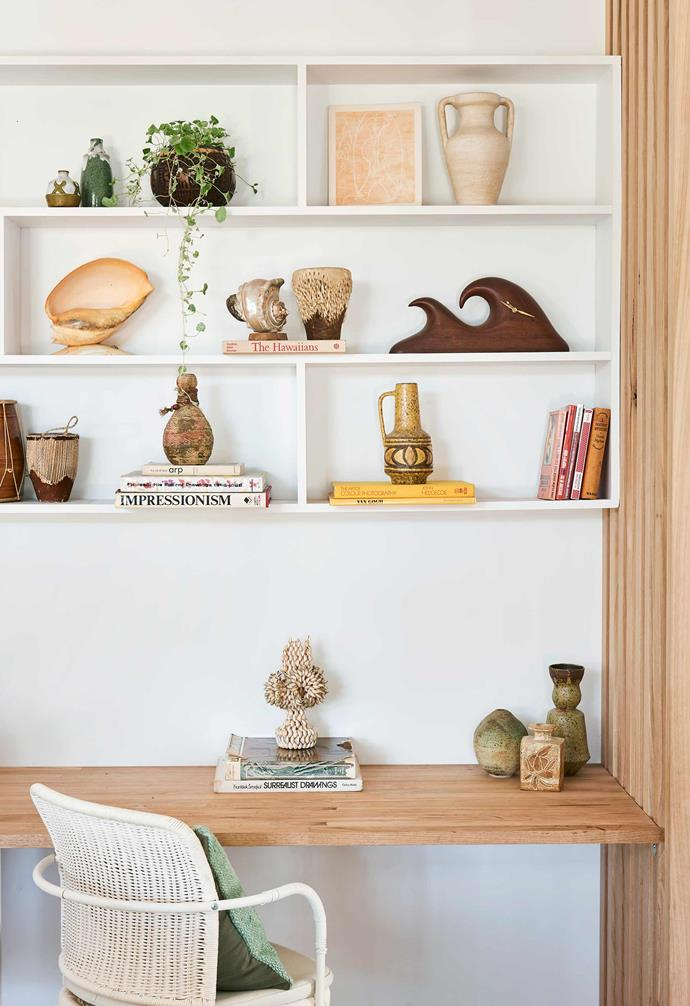 **Study** Sarah's Victorian ash desk displays some of her treasures, mostly sourced from antique stores through her work. The yellow vase on the shelf was a gift from her mother.