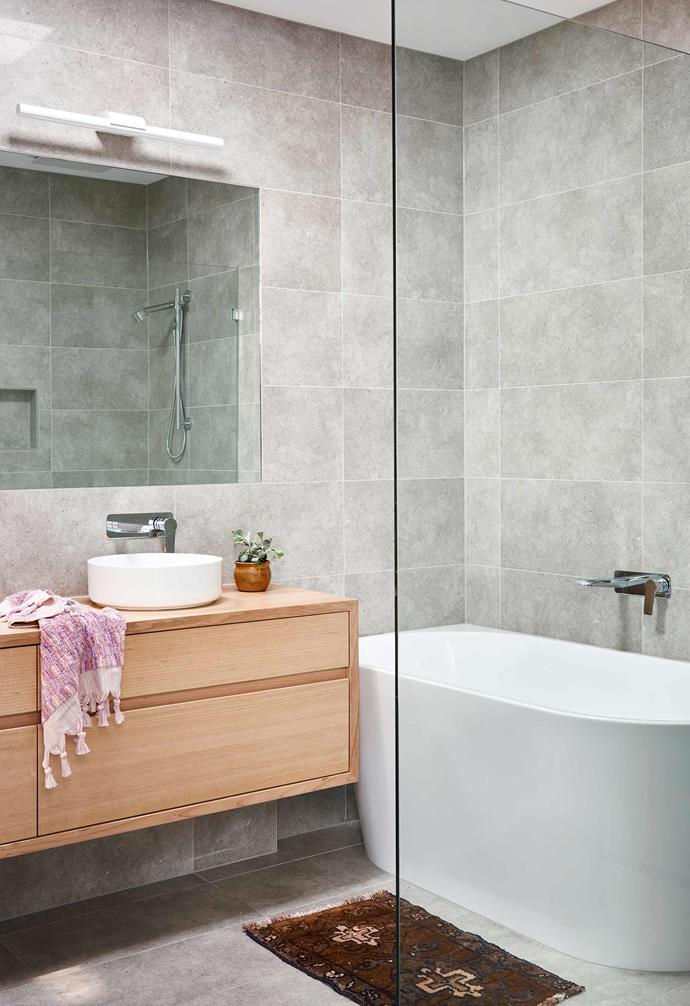 """**Bathroom** The main bathroom features a timber vanity by [ZP Woodworks](http://www.zpwoodworks.com.au/