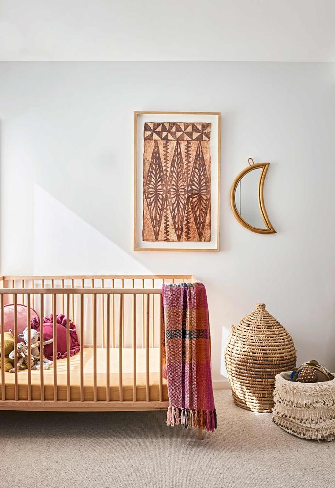 """**Maeve's room** Like other parts of the home, there's a global influence here. Sarah found the African artwork at an antique store and the basket at an op shop, working them in with the [Ikea](https://www.ikea.com/au/en/