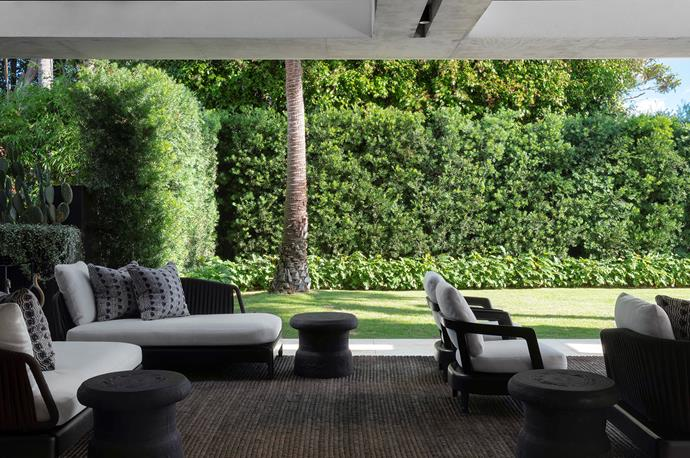 Cameron has used texture and natural hues in the outdoor room to forge an indoor-outdoor connection. It fronts onto the expansive side lawn, where a hedge of yellowwood (*Podocarpus falcatus*), providing screening, has been underplanted with the dense ground cover Philodendron xanadu.