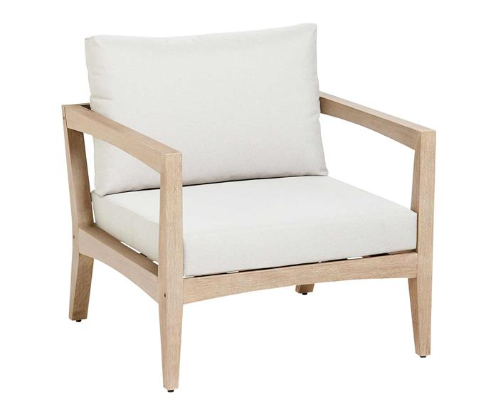 "Chelsea outdoor armchair, $599, [Domayne](https://www.domayne.com.au/|target=""_blank""