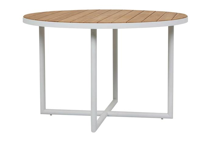 "Cali Cross dining table in White, $2760, [GlobeWest](https://www.globewest.com.au/|target=""_blank""
